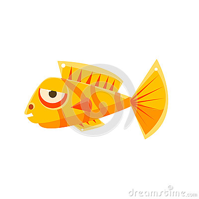 Free Orange Stripy Phlegmatic Fantastic Aquarium Tropical Fish Cartoon Character Stock Photography - 80310812