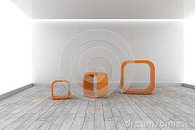 Orange structures in a grey room