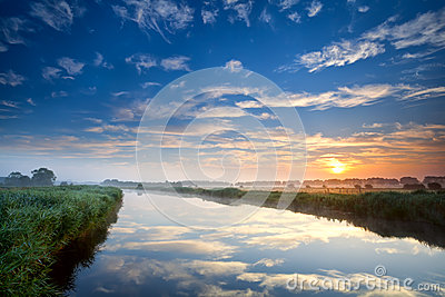 Orange sunrise over wide river