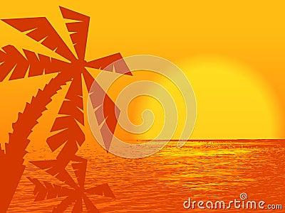 Orange sunset at the ocean