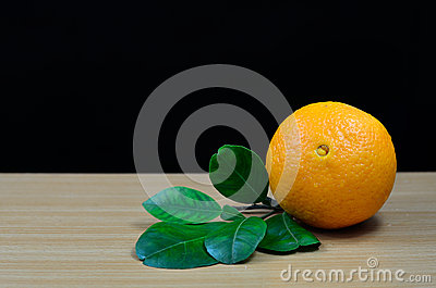 Orange on table