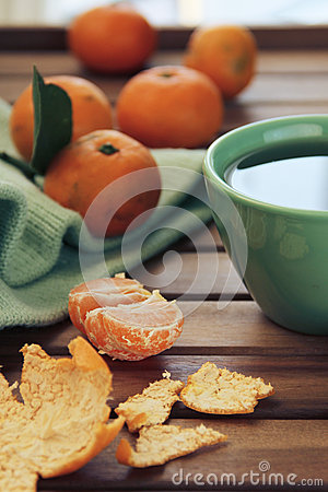 Free Orange Tangerine And Mandarin Slices, Green  Cup Of Tea Royalty Free Stock Photos - 65099268