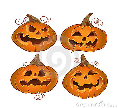 Orange terrible halloween pumpkins