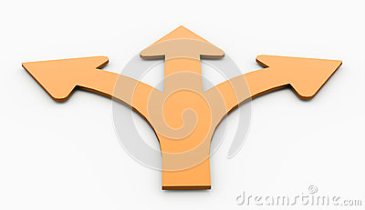 Orange three arrows isolated