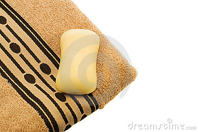 Orange towel and soap.