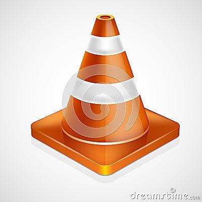 Orange traffic cone with white stripes