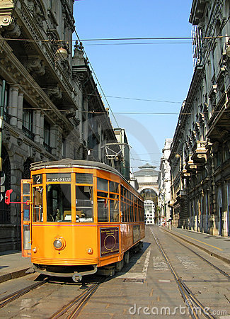 Orange tram in Milan