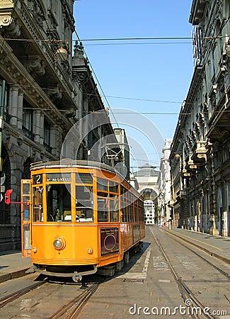 Orange tram in Milan