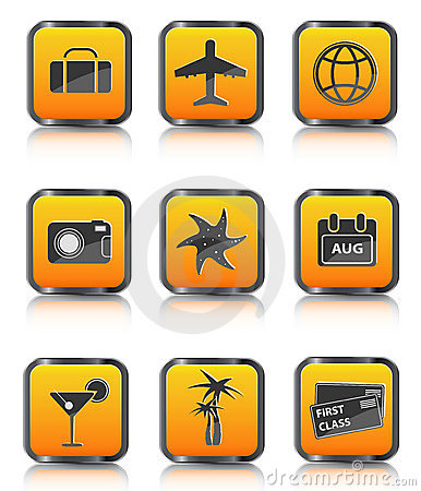 Orange travel icon luggage airplane palm coctail