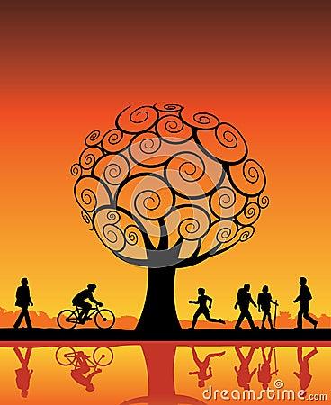 Free Orange Tree And People Stock Photo - 6068080