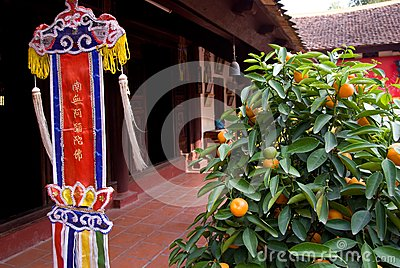 Orange tree and religious pennant at temple