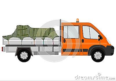 Orange truck with cargo.