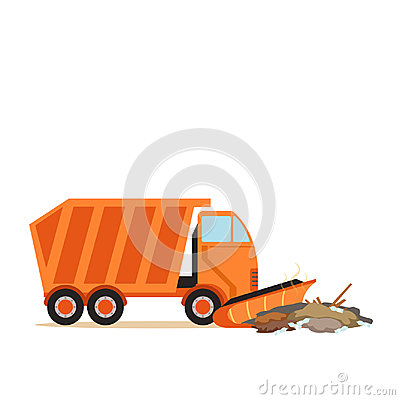 Free Orange Truck Plowing Garbage, Waste Recycling And Utilization Concept Vector Illustration Stock Image - 98446271