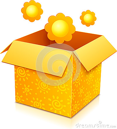 Orange vector gift box with yellow flowers