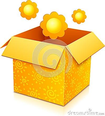 Orange vector gift box with yellow flowers
