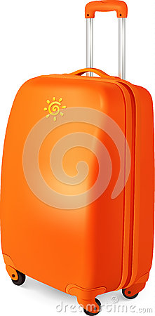 Orange vector travelling baggage suitcase