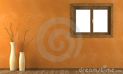 Orange wall with window