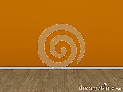 Orange wall and wood floor in a empty room