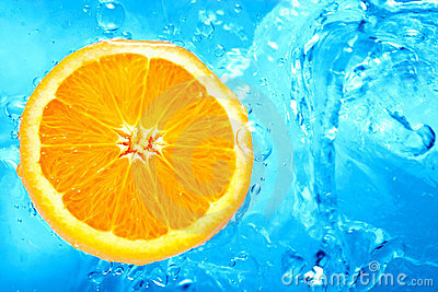 Orange in a water