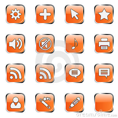 Orange web icon set 4  (16 bla Editorial Photo