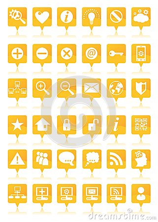 Orange web icons set