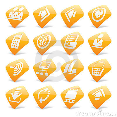Orange website and internet icons 2
