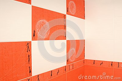 Orange and white tile.