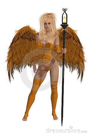 Orange Winged Angel With Blonde Hair