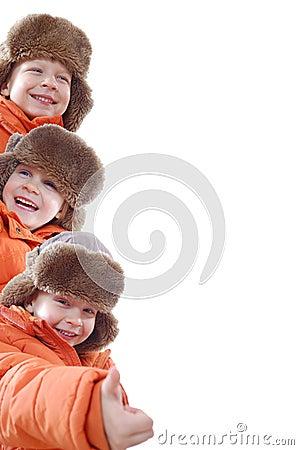 Orange winter team family