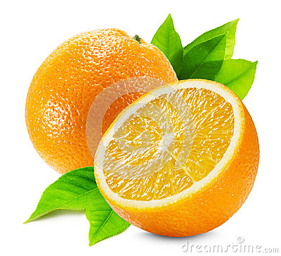 Free Orange With A Half Of Orange And Leaf Isolated On The White Back Royalty Free Stock Images - 49276549