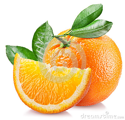 Free Orange With Leaves Over White. Stock Photo - 46716160