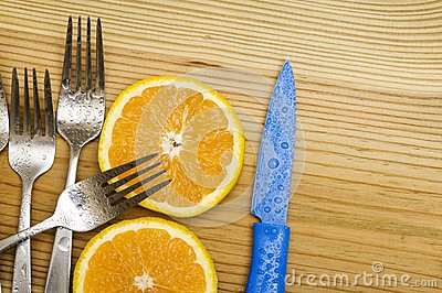 Orange on wood background