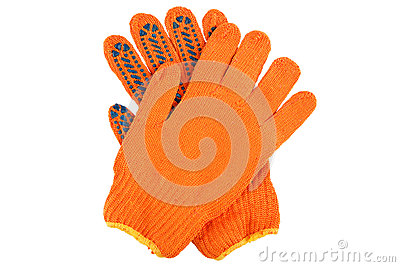 Orange work gloves isolated on white.