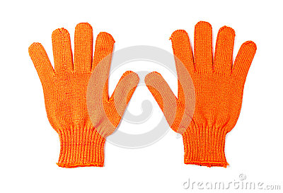Orange work gloves isolated on