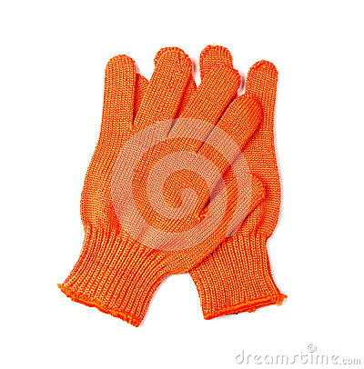 Orange work gloves isolated on