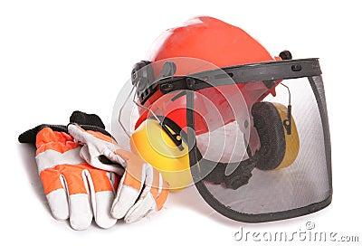 Orange workers helmet gloves and ear protectors