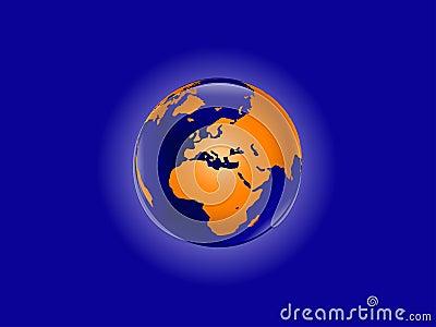 Orange World Globe