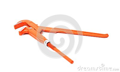 Orange wrench isolated