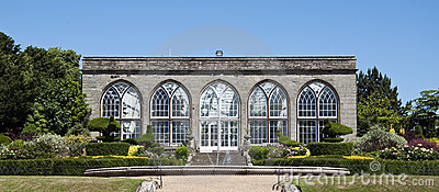 Orangery and peacock garden at Warwick Castle