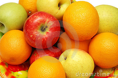 Oranges and apples assorted in