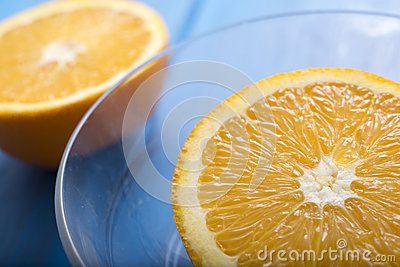 Oranges on a blue wooden table