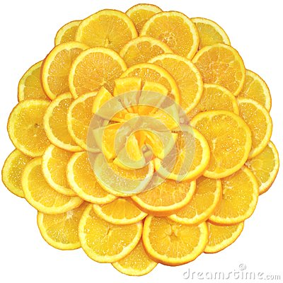 Oranges cut on segments