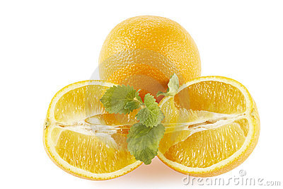 Oranges decorated lemon mint