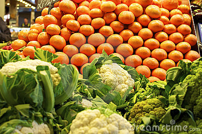 Oranges at the Market La Boqueria Barcelona