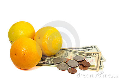 Oranges with money