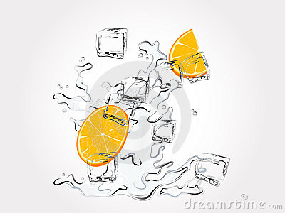 Oranges in splash