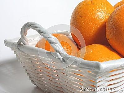 Oranges in white basket