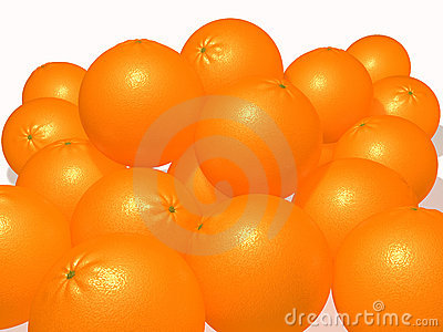 Oranges on a white plane