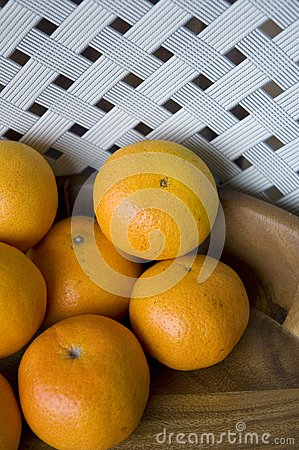 Oranges in wooden tray