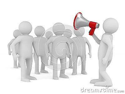 Orator speaks in megaphone